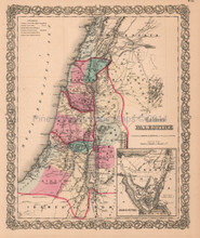 Palestine Israel Holy Lands Antique Map Colton 1859