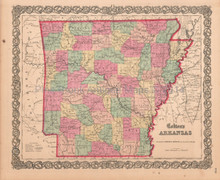 Arkansas AR Antique Map Colton 1859