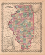 Illinois IL Antique Map Colton 1859