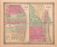 Chicago IL St Louis MO Antique Map Colton 1859