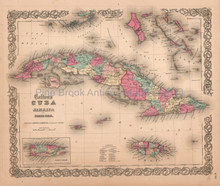 Cuba Jamaica Puerto Rico Antique Map Colton 1859