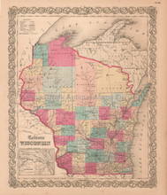 Wisconsin WI Antique Map Colton 1859