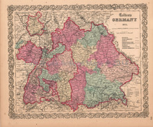 Germany Bavaria Munich Antique Map Colton 1859