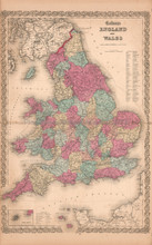 England Wales United Kingdom Antique Map Colton 1859