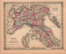 Italy North Tuscany Sardinia Antique Map Colton 1859