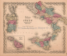 Italy South Sicily Naples Antique Map Colton 1859