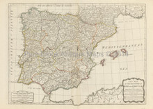 Spain Portugal Antique Map Laurie & Whittle 1794