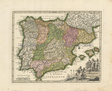 Spain Portugal Antique Map Weigel 1719