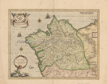 Galicia Spain Antique Map Jansson 1650