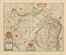Zaragoza Huesca Spain Antique Map Blaeu 1640