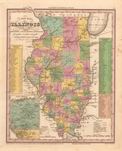 Illinois Antique Map Tanner 1836
