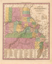 Missouri Antique Map Tanner 1836