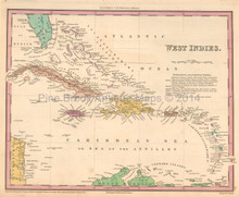 West Indies Antique Map Tanner 1836