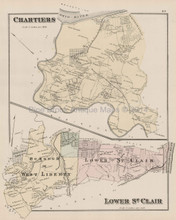 Chartiers Stowe Lower St. Clair Pennsylvania Antique Map Hopkins 1876