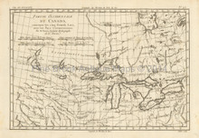 Great Lakes Antique Map Bonne 1780