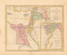 Dominions Of Solomon Antique Map Wilkinson 1815