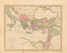 Apostles Travels Antique Map Wilkinson 1815