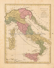 Ancient Italy Antique Map Wilkinson 1815