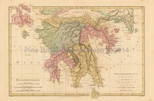 Travels Of Anacharsis Peloponnese Antique Map Wilkinson 1815