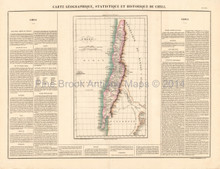 Chile South America Antique Map Buchon 1825