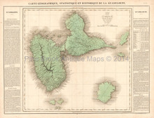 Guadeloupe Antique Map Buchon 1825