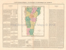 State of Vermont Antique Map Buchon 1825