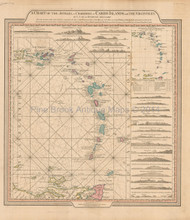 Caribbean Islands Antique Map Faden 1784