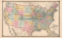 United States Railroad Antique Map Beers 1875