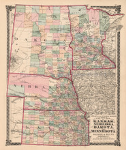Kansas Nebraska Dakota Minnesota Antique Map Beers 1875