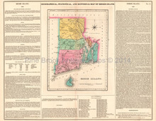 Rhode Island Antique Map Carey Lea 1822