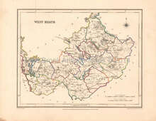 West Meath County Ireland Antique Map Lewis 1837