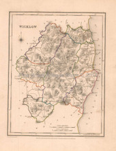 Wicklow County Ireland Antique Map Lewis 1837