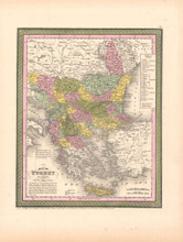 Turkey Balkans Antique Map DeSilver 1855