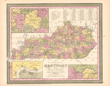 Kentucky Antique Map DeSilver 1855