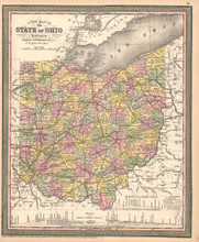 Ohio Antique Map DeSilver 1855