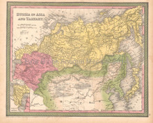 Russia Tartary Antique Map DeSilver 1855