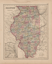 Illinois Antique Map Colton 1857