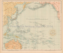 Pacific Ocean Antique Map Algue 1899