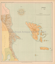 Polillo Philippine Islands Antique Map Algue 1899