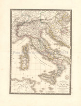 Ancient Italy Antique Map Brue 1828 Original