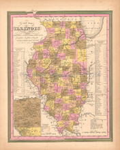 Illinois Antique Map Tanner 1845