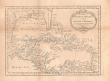 Gulf Of Mexico Antique Map Bellin 1754