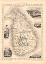 Ceylon Sri Lanka Antique Map Tallis 1851