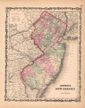 New Jersey Antique Map AJ Johnson 1862
