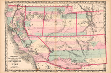 California New Mexico Antique Map AJ Johnson 1862