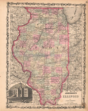 Illinois Antique Map AJ Johnson 1862
