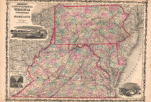 Pennsylvania, Virginia Antique Map AJ Johnson 1862