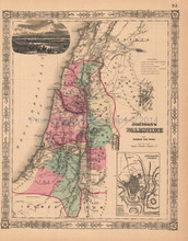 Palestine Antique Map AJ Johnson 1864
