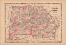 Georgia Alabama Antique Map AJ Johnson 1864