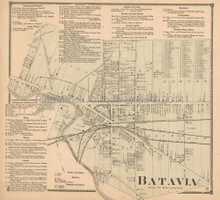 Batavia New York Antique Map Beers 1866
